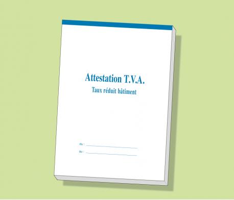 Carnet Attestation TVA taux réduit