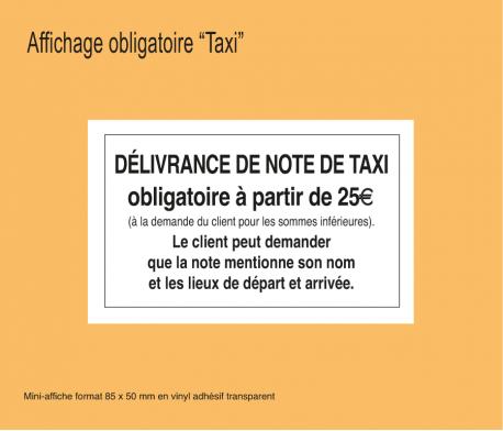 Affichage Délivrance de la Note de Taxis